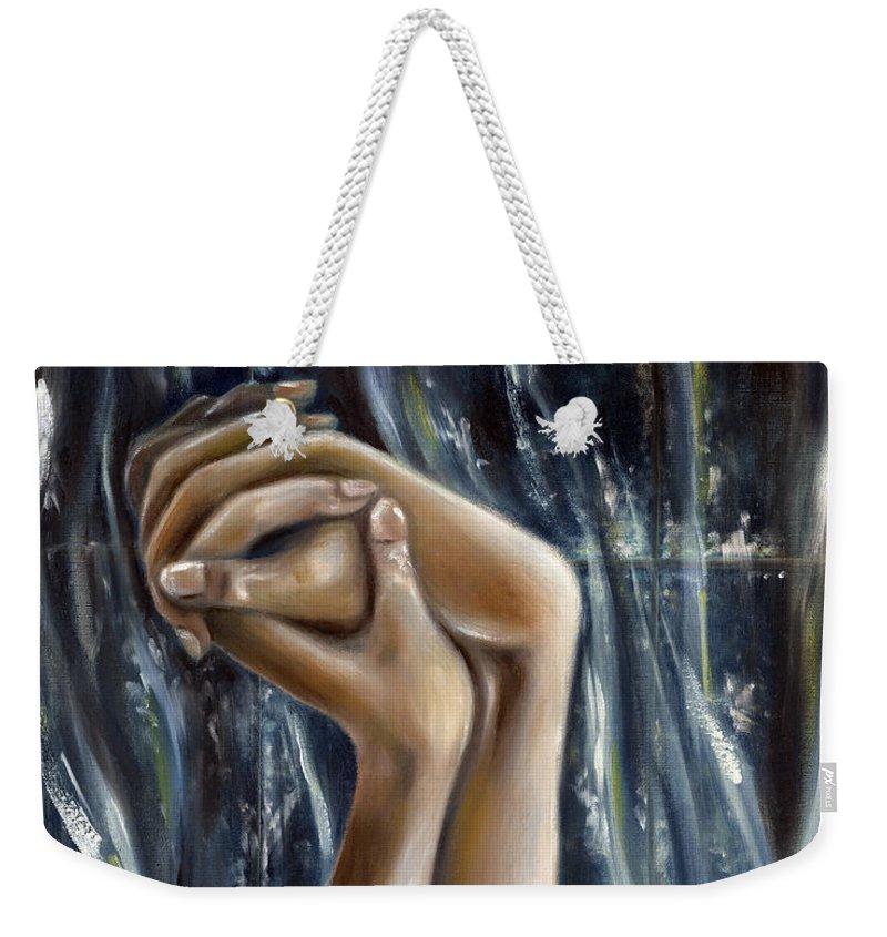 Blue Weekender Tote Bag featuring the painting Snow Light by Hiroko Sakai