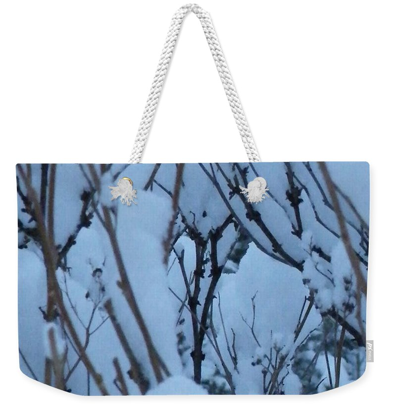 Brittle Weekender Tote Bag featuring the photograph Snow Load by Brian Boyle