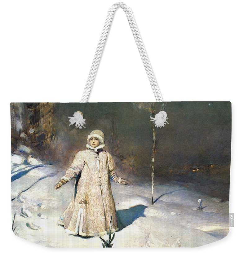 Snow Maiden Weekender Tote Bag featuring the painting Snow Maiden 1899 By Vasnetsov by Movie Poster Prints