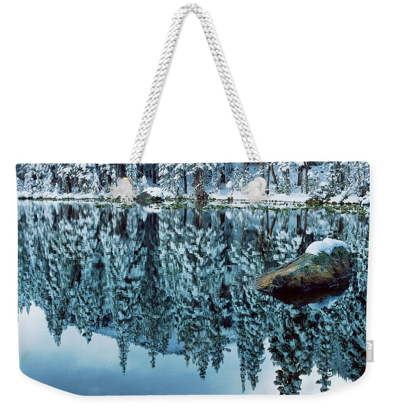 Photograph Weekender Tote Bag featuring the photograph Snow Mirror by Eric Glaser