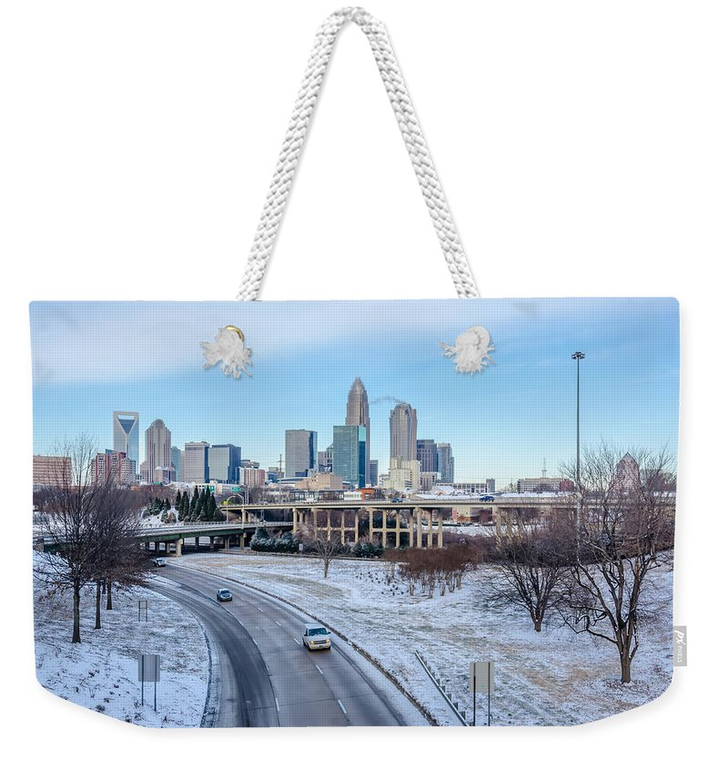 Rare Weekender Tote Bag featuring the photograph Snow Plowed Public Roads In Charlotte Nc by Alex Grichenko