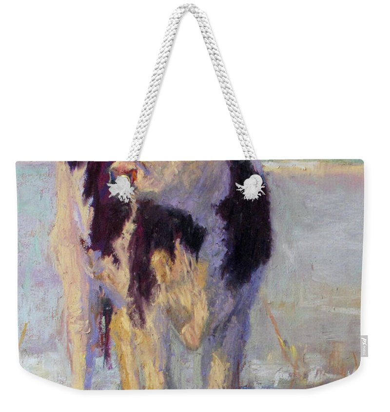 Weekender Tote Bag featuring the pastel Snow Queen by Susan Williamson