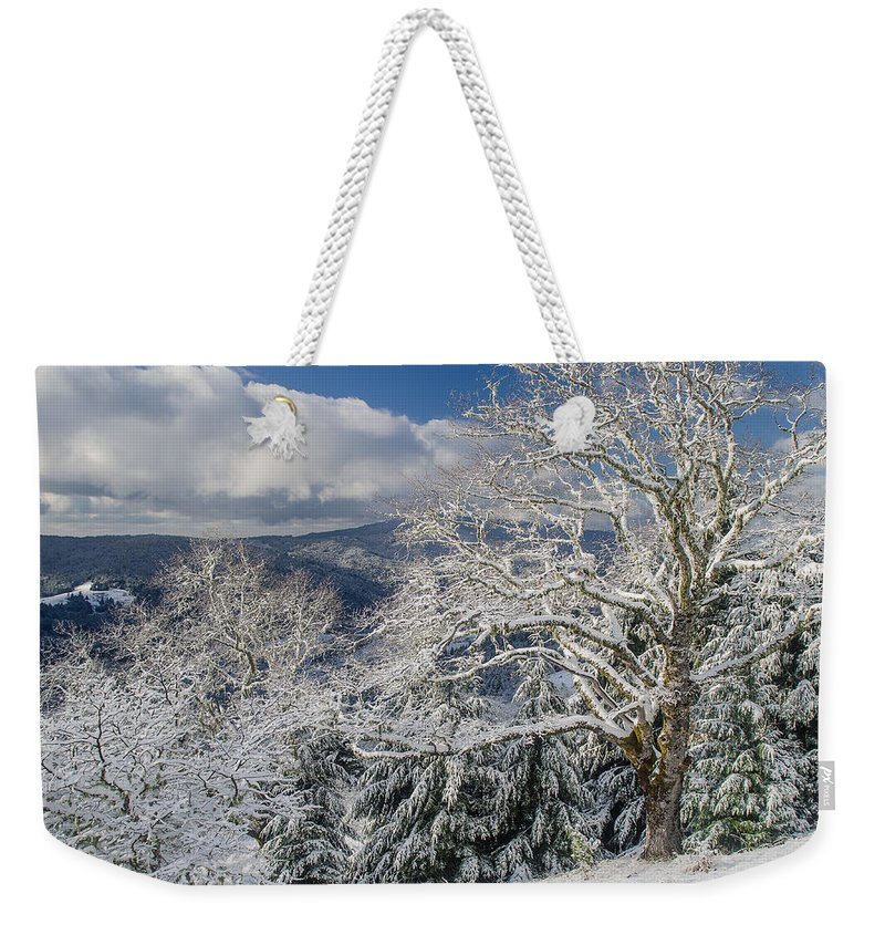 Clouds Weekender Tote Bag featuring the photograph Snow Scene At Berry Summit by Greg Nyquist