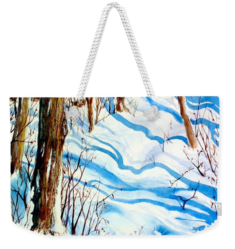 Weekender Tote Bag featuring the painting Snow Shadows by Mohamed Hirji