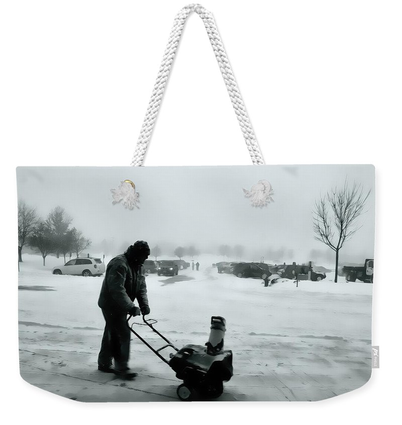 Snow Blower Weekender Tote Bag featuring the photograph Snow Storm Minneapolis by Amanda Stadther