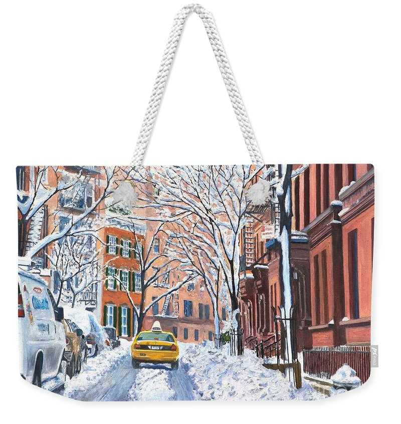 Snow Weekender Tote Bag featuring the painting Snow West Village New York City by Anthony Butera