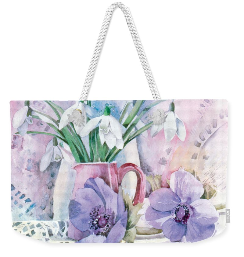 Julia Rowntree Weekender Tote Bag featuring the photograph Snowdrops And Anemones by Julia Rowntree