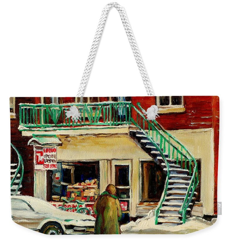 Montreal Weekender Tote Bag featuring the painting Snowing At The Five And Dime by Carole Spandau