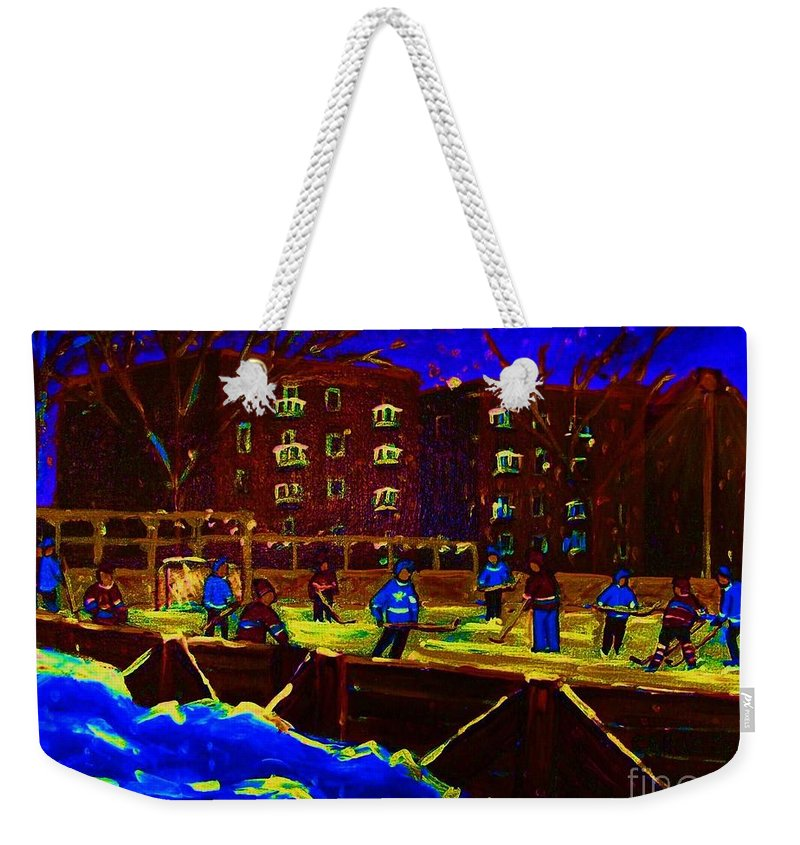 Hockey Weekender Tote Bag featuring the painting Snowing At The Rink by Carole Spandau