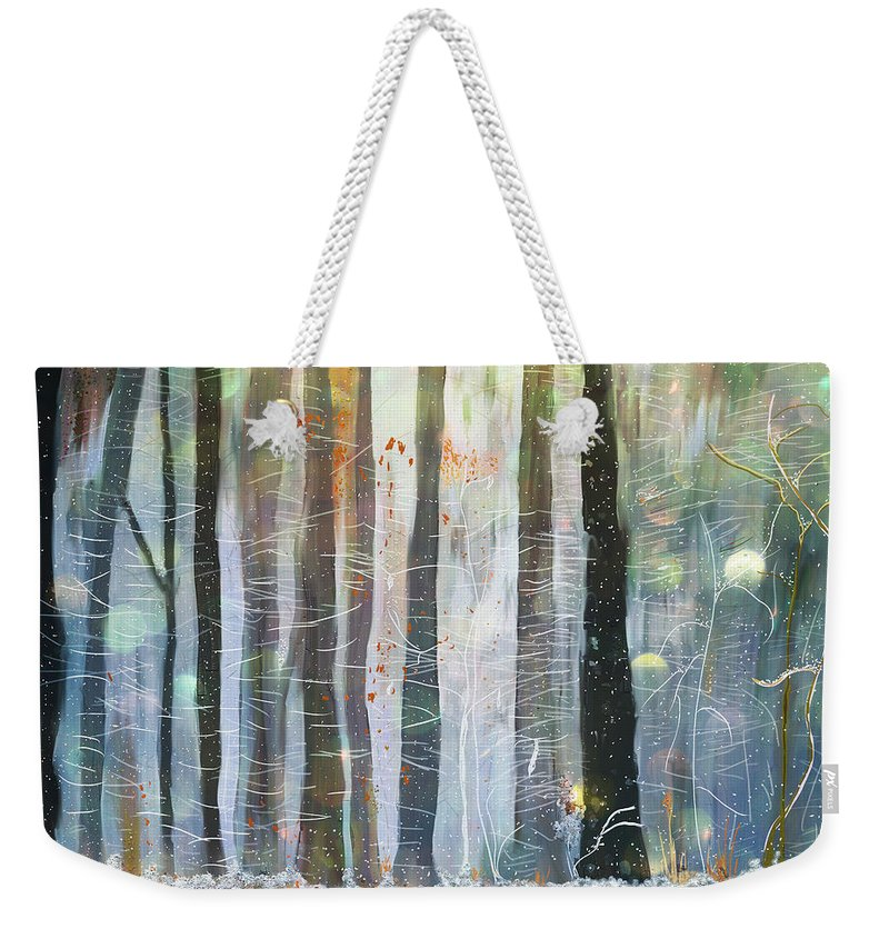 Forest Weekender Tote Bag featuring the painting Snowing In The Ice Forest by Angela Stanton