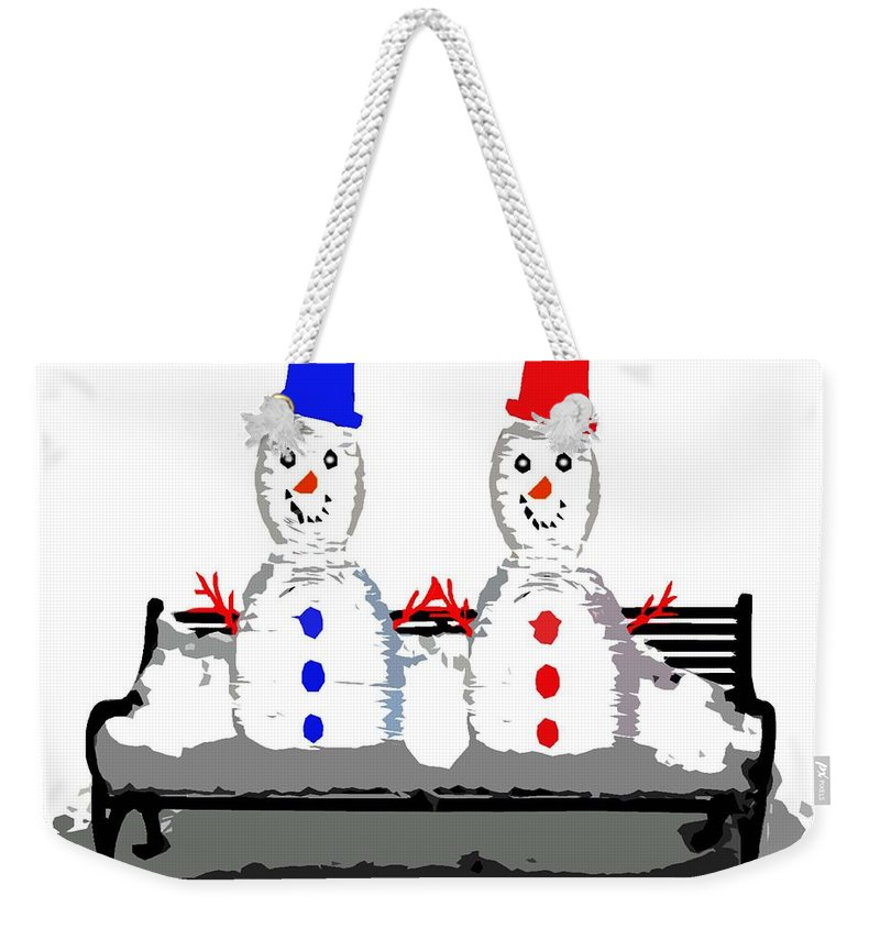 Irish Weekender Tote Bag featuring the painting Snowman And Snowwoman Holding Hands by Patrick J Murphy