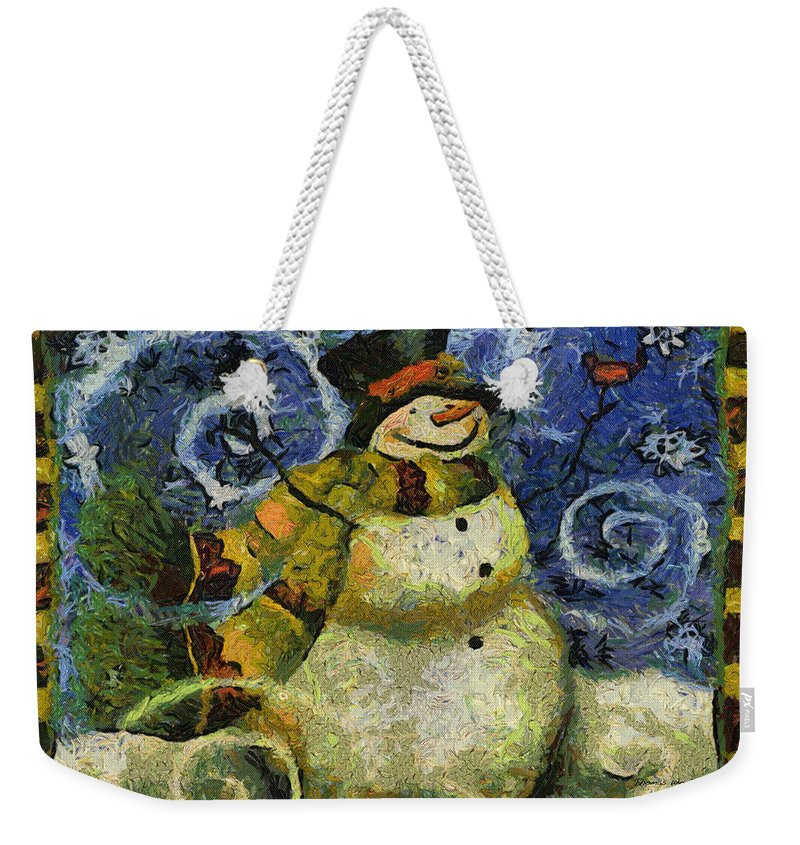 Winter Weekender Tote Bag featuring the photograph Snowman Photo Art 17 by Thomas Woolworth