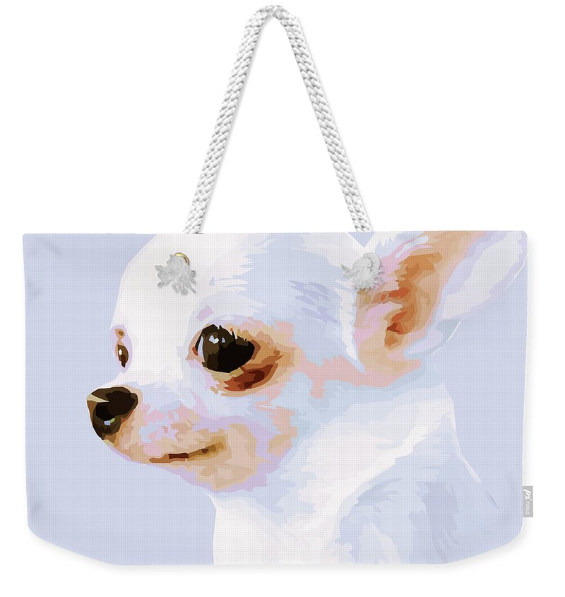 Rebecca Korpita Weekender Tote Bag featuring the photograph Snowman - White Chihuahua by Rebecca Korpita