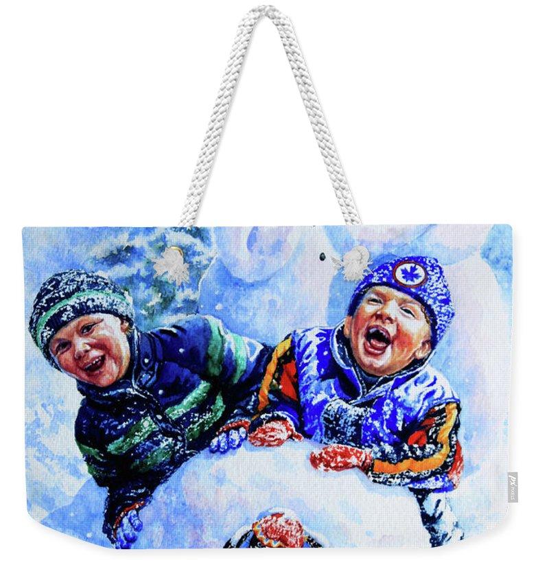Snowman Print Weekender Tote Bag featuring the painting Snowmen by Hanne Lore Koehler