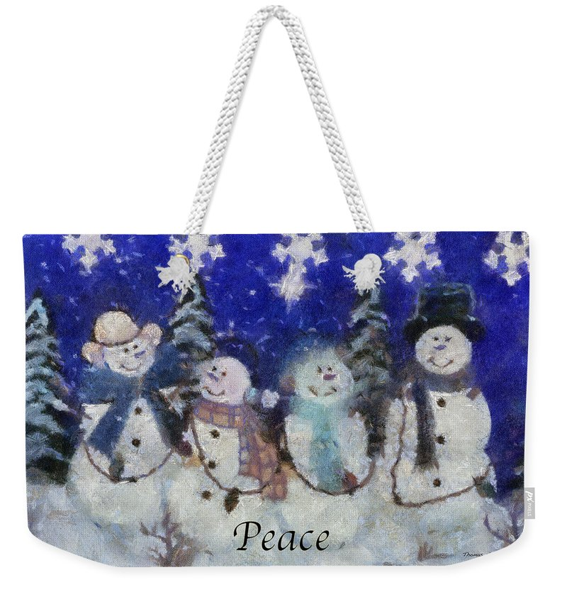 Winter Weekender Tote Bag featuring the photograph Snowmen Peace Photo Art by Thomas Woolworth