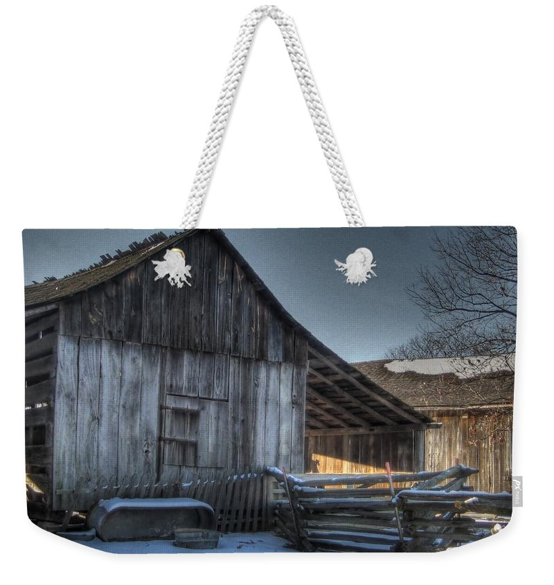 Barn Weekender Tote Bag featuring the photograph Snowy Barn by Jane Linders