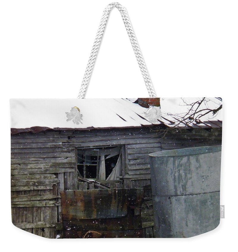 Old Weekender Tote Bag featuring the photograph Snowy Day At The Old House by Nick Kirby