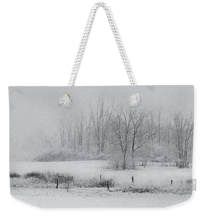 Michele Weekender Tote Bag featuring the photograph Snowy Fields by Michele Steffey