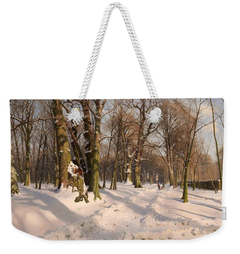 Landscape Weekender Tote Bag featuring the painting Snowy Forest Road 1908 by Mountain Dreams