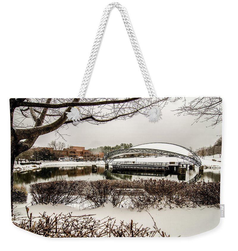 Snowy Weekender Tote Bag featuring the photograph Snowy Landscape At Symphony Park Charlotte North Carolina by Alex Grichenko