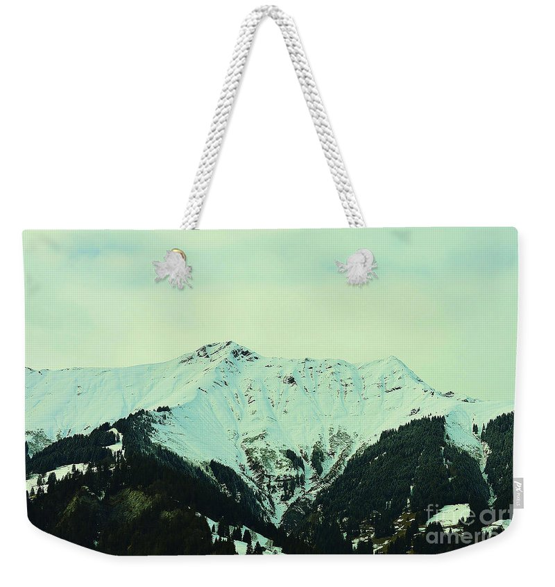Alps Weekender Tote Bag featuring the photograph Snowy Peak by Felicia Tica