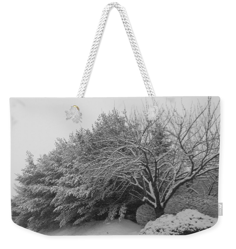 Black And White Weekender Tote Bag featuring the photograph Snowy Trees In Black And White by Michael Porchik