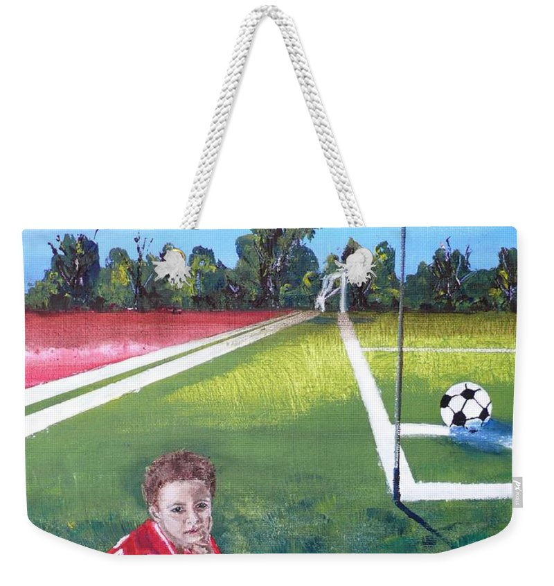 Soccer Weekender Tote Bag featuring the painting Soccer Field by Anna Ruzsan