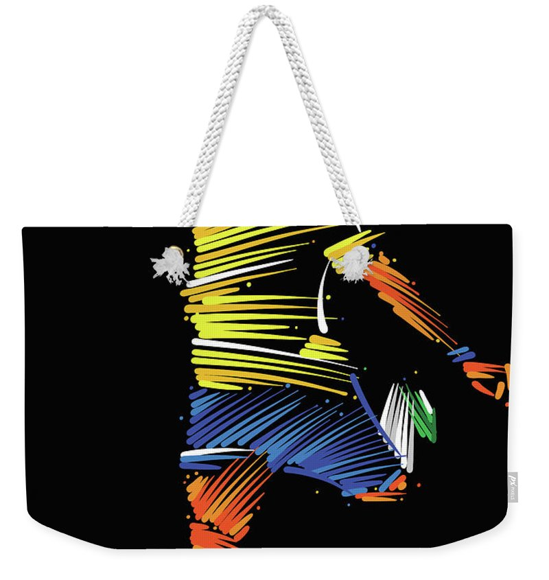 Goal Weekender Tote Bag featuring the digital art Soccer Player Running To Kick The Ball by Dimitrius Ramos