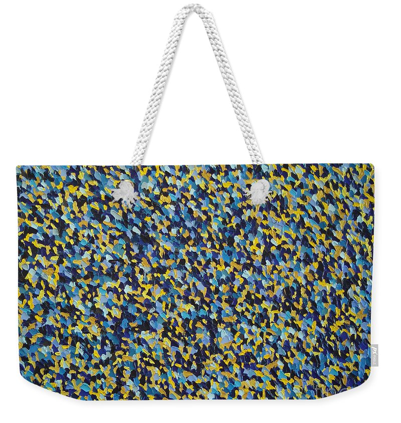 Abstract Weekender Tote Bag featuring the painting Soft Blue With Yellow by Dean Triolo