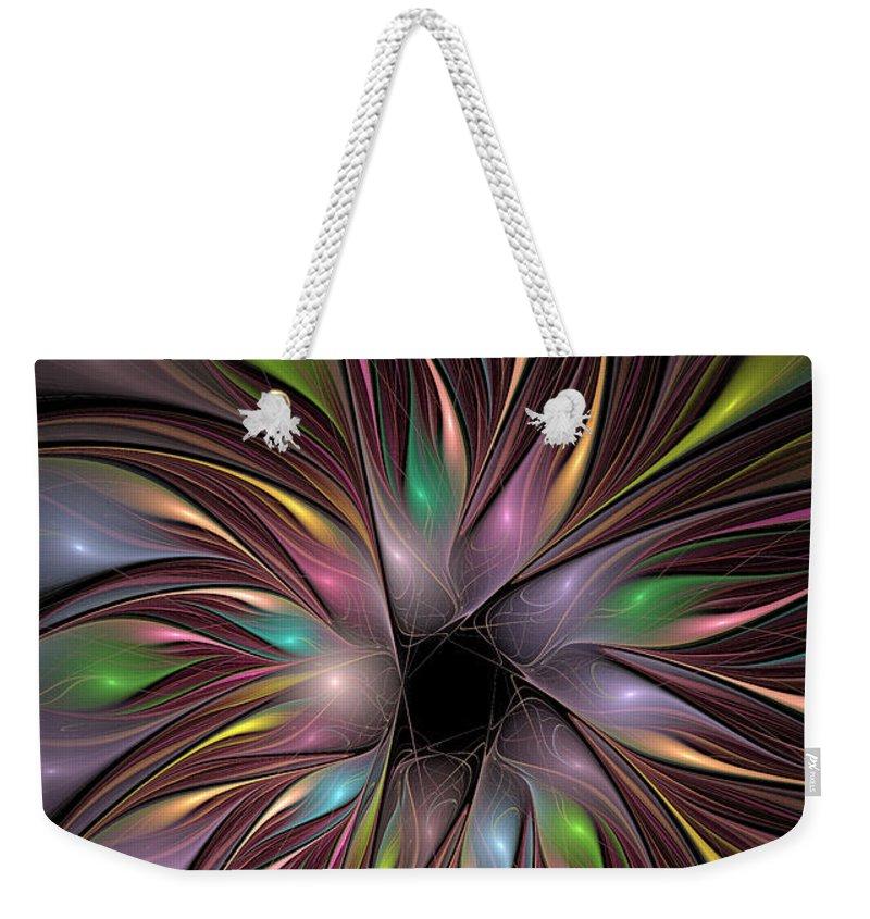 Fractal Weekender Tote Bag featuring the digital art Soft Colors Of The Rainbow by Deborah Benoit