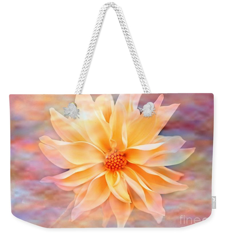 Dahila Weekender Tote Bag featuring the photograph Soft Delightful Dahlia by Judy Palkimas