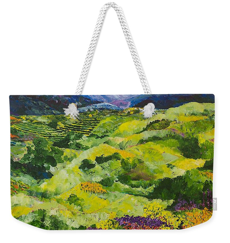 Landscape Weekender Tote Bag featuring the painting Soft Grass by Allan P Friedlander