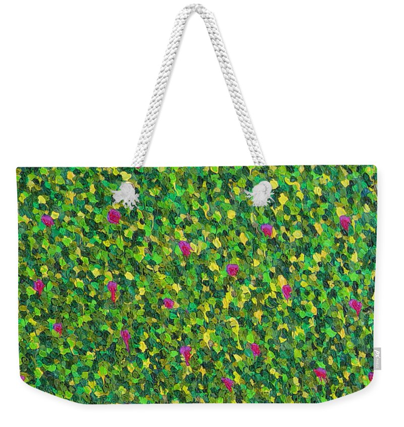 Abstract Weekender Tote Bag featuring the painting Soft Green With Pink by Dean Triolo