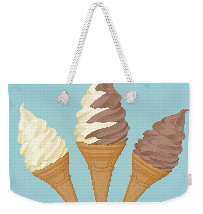 Vanilla Weekender Tote Bag featuring the digital art Soft Ice Cream Cone by Saemilee