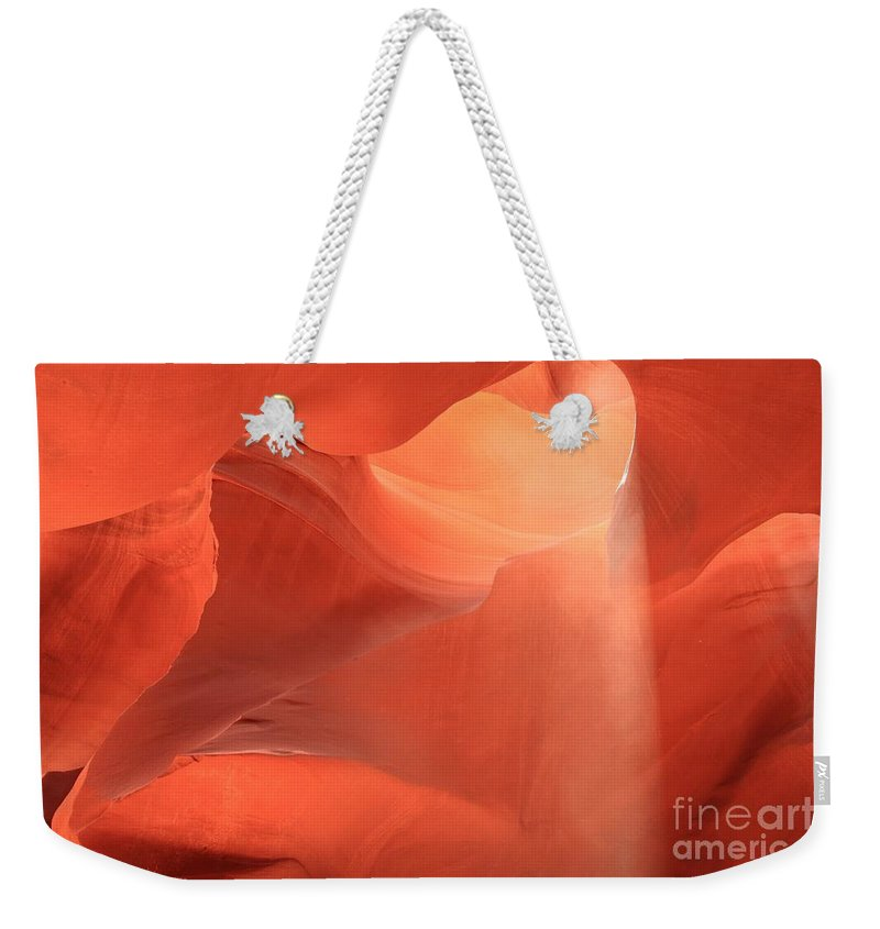 Arizona Slot Canyon Weekender Tote Bag featuring the photograph Soft Pink Light by Adam Jewell
