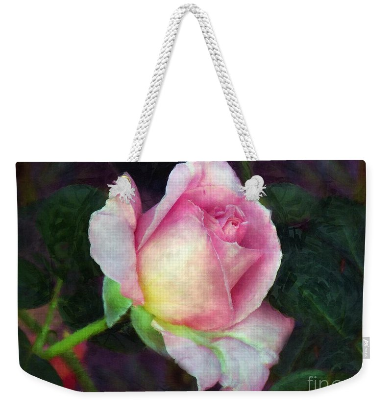 Flower Weekender Tote Bag featuring the painting Soft Unfolding by RC DeWinter