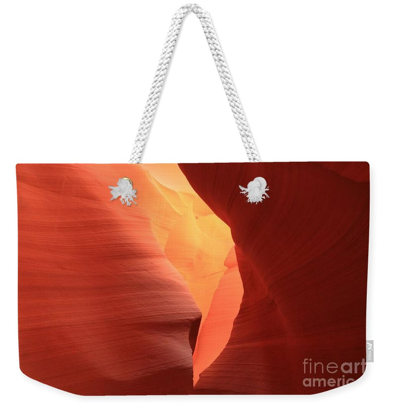 Arizona Slot Canyon Weekender Tote Bag featuring the photograph Soft Yellow by Adam Jewell