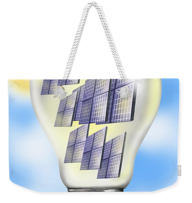 Alternative Energy Source Weekender Tote Bag featuring the photograph Solar Power Lightbulb by Gwen Shockey