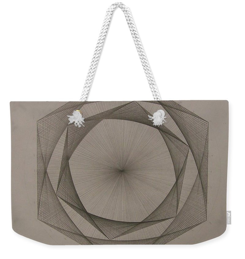 Fractal Weekender Tote Bag featuring the drawing Solar Spiraling by Jason Padgett