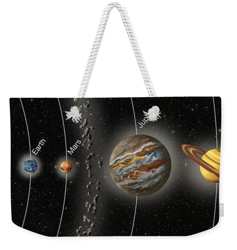 Solar System Weekender Tote Bag featuring the photograph Solar System Orbits, Illustration by Spencer Sutton