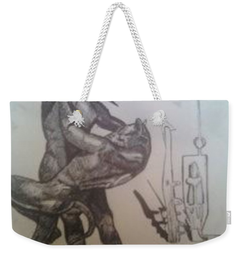 Soldier Weekender Tote Bag featuring the drawing Soldier Slaying A Demon With Abstract Echo by Jude Darrien
