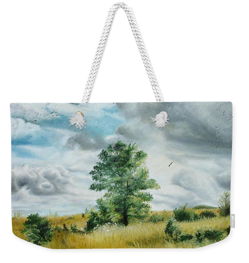 Summer Weekender Tote Bag featuring the painting Solitude by Sorin Apostolescu
