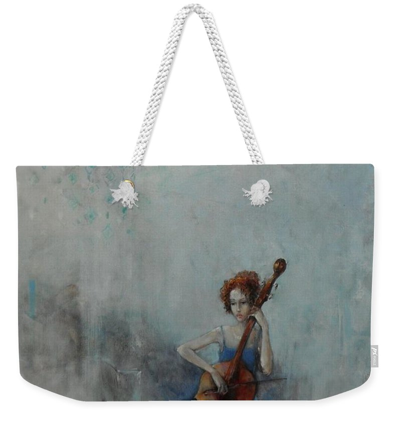 Celloist Weekender Tote Bag featuring the painting Solo Celloist by Grigor Malinov