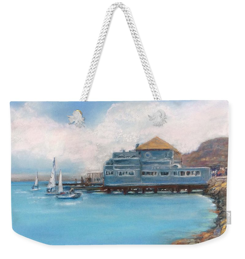 Sausalito Weekender Tote Bag featuring the painting Soma's Restaurant by Hilda Vandergriff
