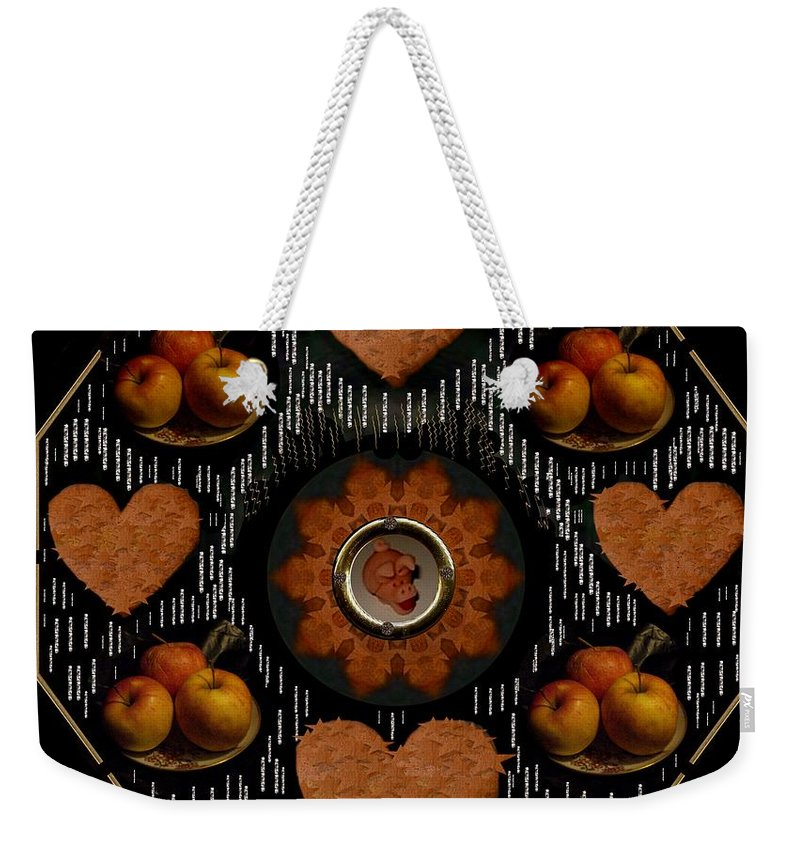 Apples Weekender Tote Bag featuring the mixed media Some Snacks Pop Art by Pepita Selles