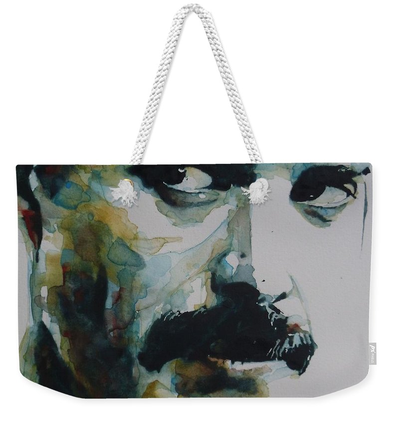 Queen Weekender Tote Bag featuring the painting Freddie Mercury by Paul Lovering