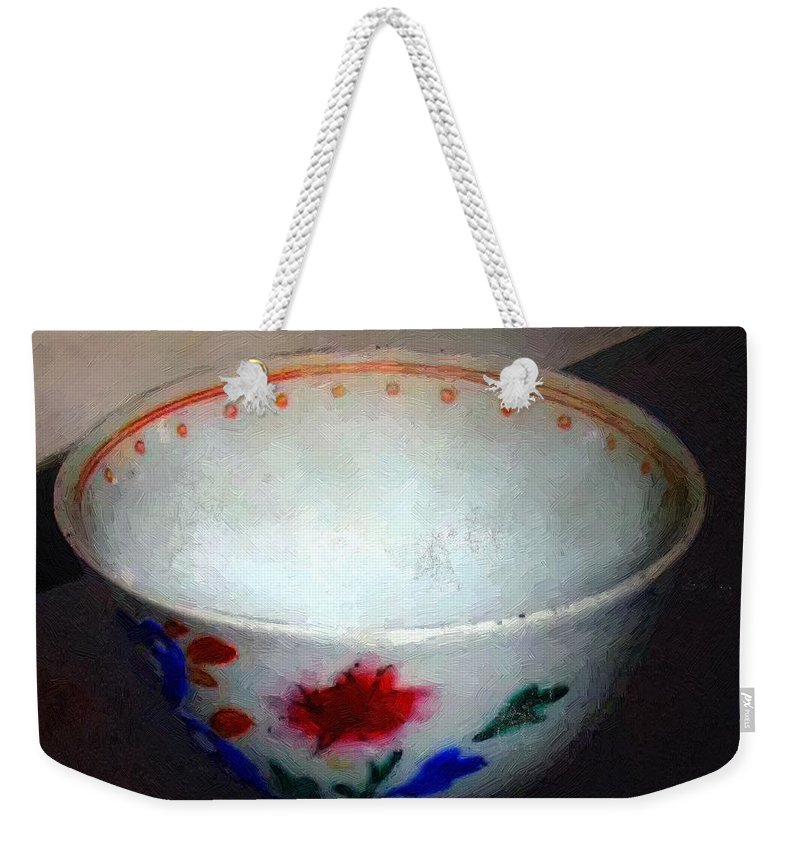 Antique Weekender Tote Bag featuring the painting Somebody's Old Bowl by RC DeWinter