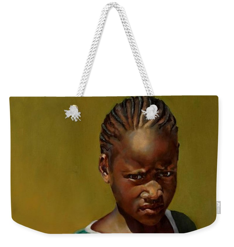 African Girl Weekender Tote Bag featuring the painting Somebody's Sister by Jolante Hesse