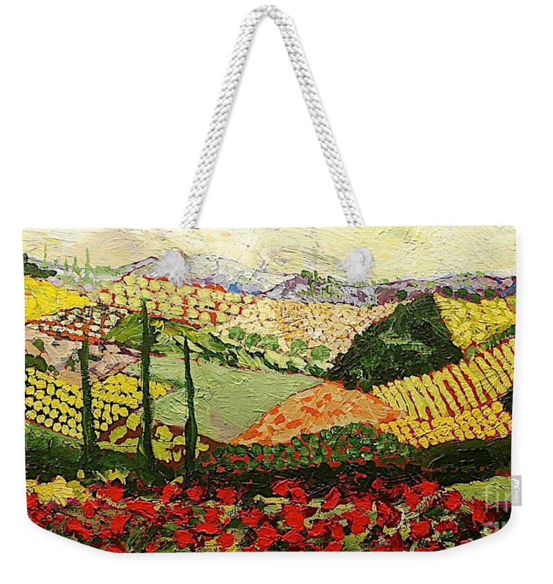 Landscape Weekender Tote Bag featuring the painting Something Red by Allan P Friedlander