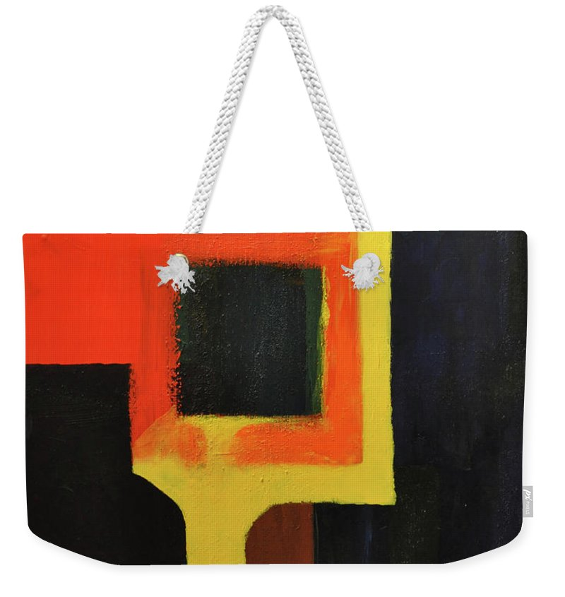Abstract Weekender Tote Bag featuring the painting Something To Do With Light by Kimberly Maxwell Grantier